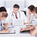 Health care physicians joining e-learning session